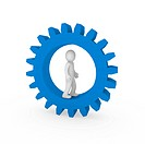 3d gear blue human man business teamwork technology