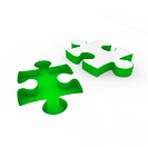 3d puzzle green white success connection piece business