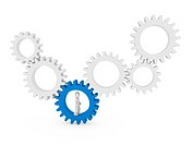 3d gear human man blue teamwork circle business
