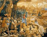Hunting scene with imaginary Florence, by Federico Zuccaro (about 1540-1609). Detail.  Florence, Galleria Degli Uffizi (Uffizi Gallery) Gabinetto Dise...