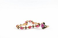 Gold and ruby bracelet and ruby ring thai style
