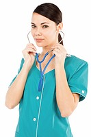 Female medical doctor with stethoscope posing against white background