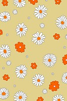 Illustration of many flowers over a cream background