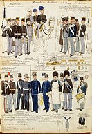 Militaria, Italy, 19th century. Various uniforms of the Duchy of Modena, 1859-1860. Color plate by Quinto Cenni.  Roma, Archivio Dell'Ufficio Storico ...