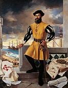 Portrait of Ferdinand Magellan (Sabrosa 1480-Mactan 1521), Portuguese explorer.  Lisbon, Museu De Marinha (Navy Museum)