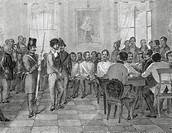 Italy - 19th century, First War of Independence - Venice, Legal process of the Austrian Courts against some patriots. Engraving.  Venezia, Museo Del R...