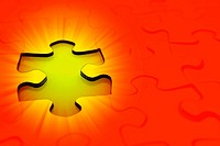 Gap in jigsaw puzzle. Bright orange background