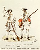 Militaria, Italy, 18th century. Army of the Duke of Savoy: riflemen of Chablaix and White Cross Infantry Regiment, 1703. Color engraving by E. Chioppa...