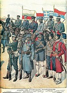 Balkan Wars - Balkan army uniforms, 1912. Engraving from the Petit Journal.