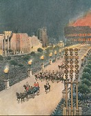 World War II - 20th century - Triumphal entry of Adolf Hitler in Rome. Drawing by Achille Beltrame (1871-1945) on the Italian weekly newspaper 'La Dom...