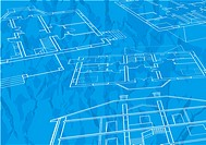 Vector house plan on blue background