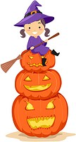 Illustration of a Kid Sitting on a Pile of Jack_o_Lanterns _ eps8