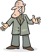 cartoon illustration of funny man in suit