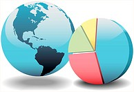 World globe and a 3D global financial economy pie chart