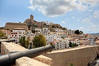 Spain, Balearic Islands, Ibiza, Ibiza old town UNESCO site, Dalt Vila, view from ramparts