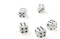 isolated dices. Game cubes on a white background