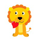 Happy lion with red heart. Vector Illustration.