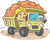 Illustration of a Man Operating a Land Mover _ eps8