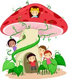 Illustration of Kids Playing in a Mushroom Shaped House _ eps8
