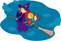 Illustration of Kids Riding a Broomstick _ eps8