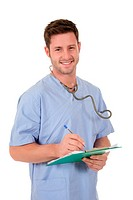 Young successful caucasian man doctor with stethoscope and clipboard in hands, writing a note. Studio shot. White background