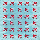 vintage airplane texture in red and blue colors
