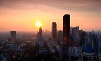 Aerial view of Bangkok Skyline cityscape with sunset Thailand, Panorama