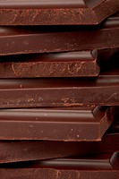 Stack of dark chocolate close up