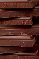 Stack of dark chocolate close up