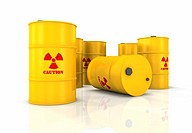 Yellow barrels with red radioactivity symbols, 3d render