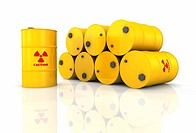 Stack of yellow barrels with red radioactivity symbols, 3d render