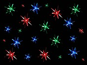Christmas lights isolated against a black background