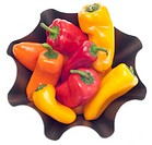 Fresh Sweet Peppers in a Modern Metal Bowl Isolated on White with a Clipping Path.