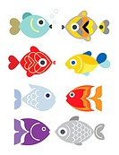 Ornamental aquarium fishes - vector illustration, isolated design elements on white