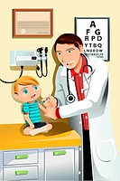 A vector illustration of a pediatrician giving a shot to a little child
