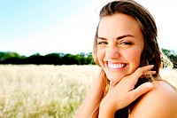 beautiful portrait of a carefree friendly approachable girl with a stunning smile and cute looks