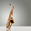 Alto Saxophone woodwind instrument over gray neutral background