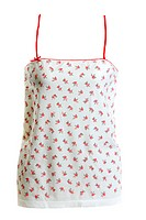 Light feminine tanktop with red pattern on white background