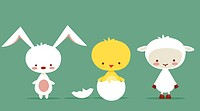 Cute easter characters, vector illustration