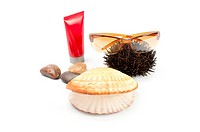 Sun glass on white background with seashell,stones, sea_urchin and sun block