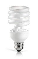 Energy saving compact fluorescent lightbulb isolated on white background