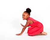 Beautiful four year old little girl dancing and playing.