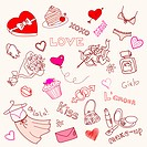 Valentine Doodles, scrapbook page