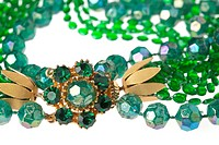 Vintage Green Bead Necklace with Large Rhinestone Gold Clasp.