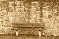 old wall with park bench