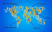 Map of the continent. Contact the business goals.