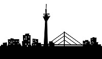 Cartoon skyline silhouette of the city of Dusseldorf, Germany.