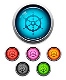 Glossy ship wheel button icon set in 6 colors