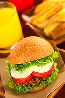 Vegetarian lentil burger in wholewheat bun with lettuce, tomato and cucumber accompanied by French fries and orange juice Selective Focus, Focus on th...