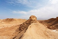 Natural canyons, cliffs and sandstone rock in the desert near the Dead Sea in Israel